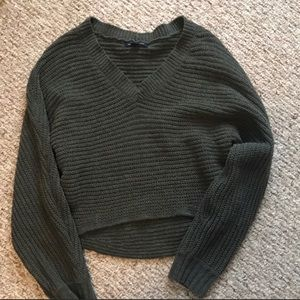 Cropped army green sweater